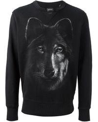 DIESEL - Black Wolf Print Sweatshirt for Men - Lyst