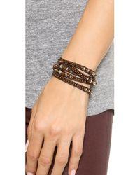 Chan Luu | Brown Grey Banded Agate, Hematite, Crystal & Leather Multi-row Beaded Wrap Bracelet | Lyst