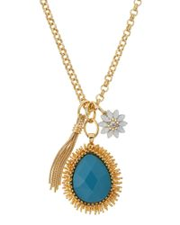 R.j. Graziano | Blue Long Golden Charm Necklace | Lyst
