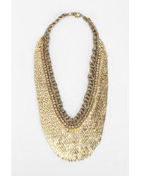 Deepa Gurnani Metallic Scales Bib Necklace