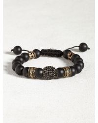 John Varvatos | Black Agate & Oxidized Bronze Bracelet for Men | Lyst