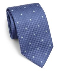 Armani | Blue Herringbone Print Silk Tie for Men | Lyst