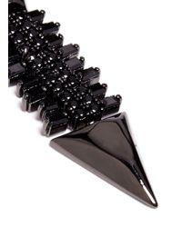 Iosselliani Black Zircon Pavé Brass Arrow Clip Earrings