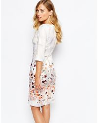 Closet - Metallic Closet Floral Print Midi Dress With 3/4 Sleeve - Lyst