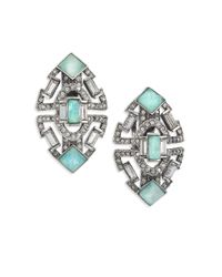 Alexis Bittar | Metallic Coral Deco Amazonite & Crystal Stepped Clip-on Earrings | Lyst