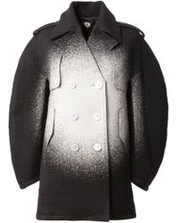 ANREALAGE - Black Sprayed Oversized Peacoat for Men - Lyst