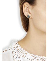 Marc By Marc Jacobs Gray Grey Enamel Disc Stud Earrings