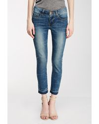 Forever 21 - Blue Contemporary Low-rise Frayed Ankle Jeans You've Been Added To The Waitlist - Lyst