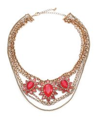 ABS By Allen Schwartz | Red Sunset Blvd Floral Multi-chain Necklace | Lyst
