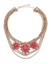 ABS By Allen Schwartz | Red Sunset Blvd Floral Multi-chain Necklace | Lyst