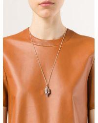 Eddie Borgo Metallic Inlaid Bi-cone Pendant Necklace