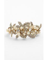 Nina White 'hallie' Faux Pearl & Crystal Bracelet