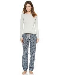 Calvin Klein Gray Long Sleeve Rib Crew & Flannel Pant Pj Set - Light Medium Grey/Moroccan Geo