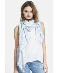 Hinge - Blue Scrolling Jaquard Square Scarf - Lyst