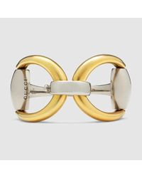 Gucci - Metallic Horsebit Bracelet In Silver And Gold - Lyst