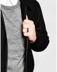 Emporio Armani - Metallic Signature Carbon Fibre Ring for Men - Lyst