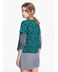 Mango - Blue Leopard Print T-Shirt - Lyst