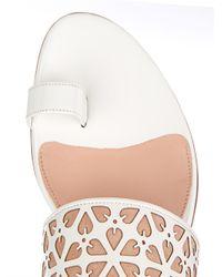 Alexander McQueen - White Floral Laser-Cut Leather Sandals - Lyst