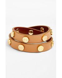 Tory Burch - Metallic Double Wrap Logo Bracelet - Aged Vachetta - Lyst