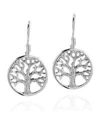 Aeravida | Metallic Immortal Tree Of Life .925 Sterling Silver Dangle Earrings | Lyst