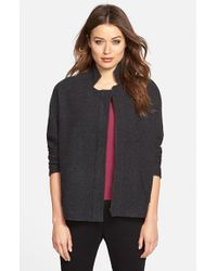 Eileen Fisher - Gray Stand Collar Boiled Merino Wool Jacket - Lyst
