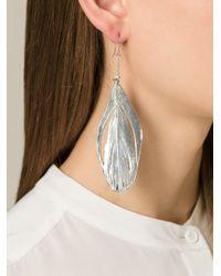 Aurelie Bidermann   Metallic 'swan' Feather Earrings   Lyst
