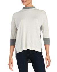 T Tahari | Natural Mock Neck Hi-lo Sweater | Lyst