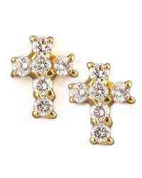 KC Designs | Metallic Diamond Cross Earrings | Lyst