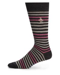 Original Penguin | Gray Pima Cotton-blend Striped Socks for Men | Lyst