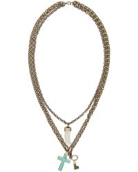 DSquared² Blue Turquoise Cross Three_tier Necklace