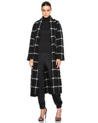 Lanvin White Wool Mohair Windowpane Wrap Coat