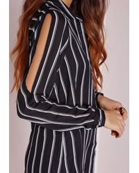 Missguided | Cold Shoulder Stripe Shirt Black | Lyst