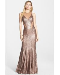 Faviana | Brown Illusion Cutout Sequin Mermaid Gown | Lyst