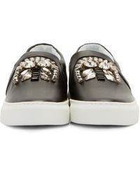 Lanvin | Black Crystal Accent Sneakers | Lyst