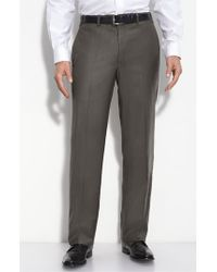 JB Britches Brown Flat Front Wool & Cashmere Trousers for men