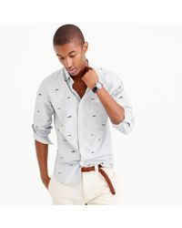 J.Crew Gray Slim Vintage Oxford Shirt With Embroidered Huskies for men