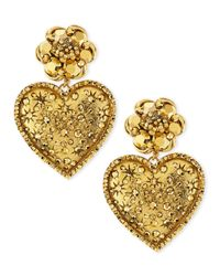 Jose & Maria Barrera - Metallic Golden Large Crystal Heart Drop Clip Earrings - Lyst