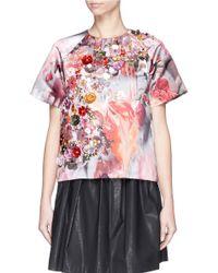 MSGM - Multicolor Sequin Floral Duchesse Satin Top - Lyst