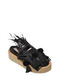 N°21 - Black 40mm Fringe & Feathers Leather Sandals - Lyst