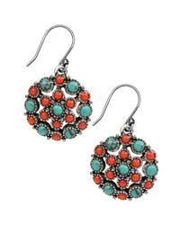 Lucky Brand | Metallic Silvertone Turquoise and Coral Stone Drop Earrings | Lyst