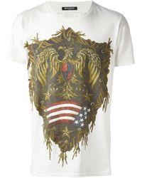 Balmain White Eagle Print T-Shirt for men