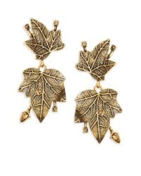Oscar de la Renta | Metallic Crystal And Ivy Drop Earrings | Lyst
