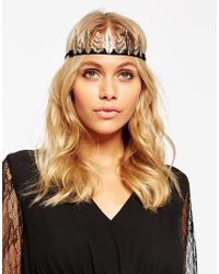 ASOS - Metallic Occasion Leaf Bun Holder And Headband - Lyst