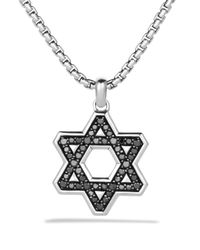 David Yurman | Metallic Pave Reversible Star Of David With Black Diamonds On Chain for Men | Lyst