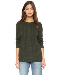 Autumn Cashmere | Green Boyfriend Cable Crewneck Sweater - Cypress | Lyst