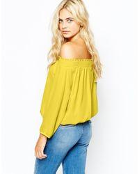Oasis - Yellow Bardot Ls Top - Lyst