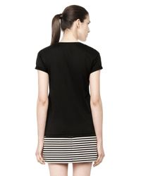 Alexander Wang | Black Cotton V-neck Tee | Lyst