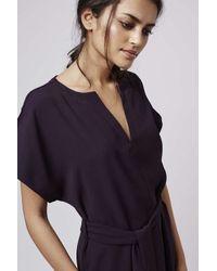 TOPSHOP - Purple V-neck Belted Midi Dress - Lyst