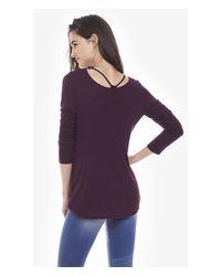 Express Purple Dark Berry One Eleven Long Sleeve Surplice Top