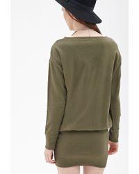 Forever 21 Green Drop Waist Sweater Dress